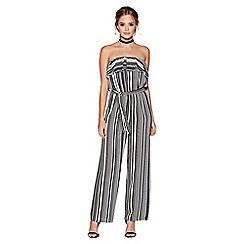 Quiz - Black and white stripe strapless jumpsuit