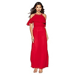 Quiz - Berry chiffon high neck maxi dress
