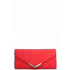 Quiz - Red faux suede clutch bag