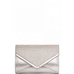 Quiz - Silver diamante and shimmer clutch bag
