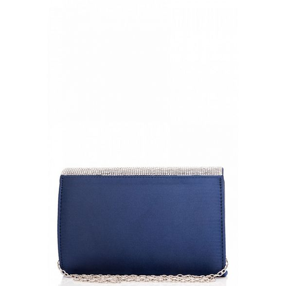 Navy diamante satin Quiz bag clutch wBz1q7RP
