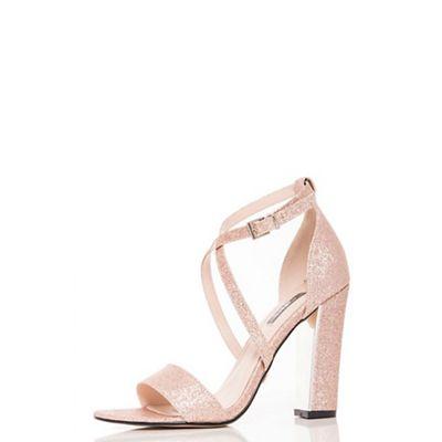 Quiz - Rose gold glitter block heel strappy sandals