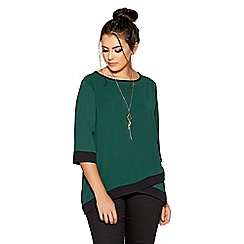 Quiz - Curve green and black 3/4 sleeves necklace top
