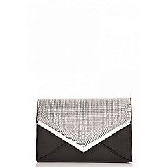 Quiz - Black diamante detail clutch bag