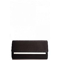 Quiz - Black faux suede diamante clutch bag