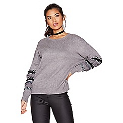 Quiz - Grey knit fringe sleeves jumper