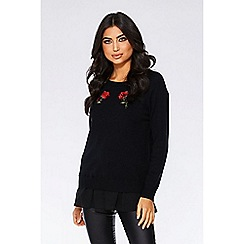 Quiz - Black and red rose embroidered knit jumper