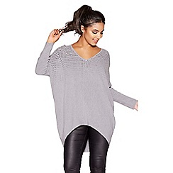 Quiz - Grey light knit batwing diamante jumper