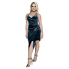 Quiz - Gabby's bottle green velvet wrap front bodycon dress