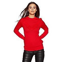 Quiz - Red light knit frill long sleeves jumper