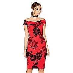 Quiz - Red glitter flock floral print bardot dress