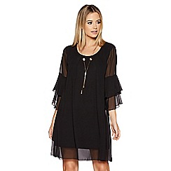 Quiz - Black frill sleeve necklace tunic dress