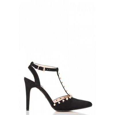 Quiz - Black faux suede stud heels shoes