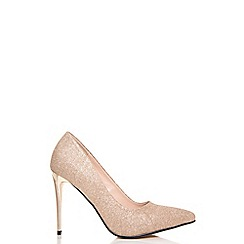 Quiz - Champagne glitter pointed court shoes