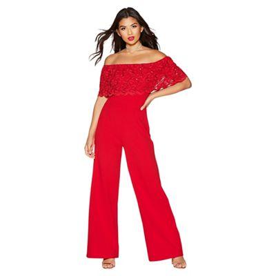 Quiz Red Sequin Lace Bardot Jumpsuit | Debenhams