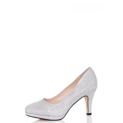 Quiz - Silver glitter mid heel shoes
