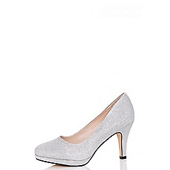 Quiz - Silver glitter midi heel shoes