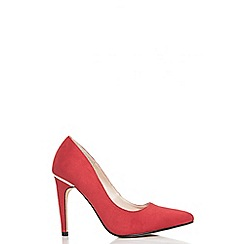 Quiz - Red faux suede pointed court shoes