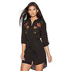 Quiz - Black floral embroidered tie waist shirt dress