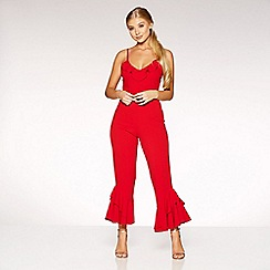 Quiz - Gabby's red frill detail jumpsuit