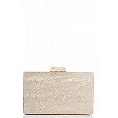 Quiz - Gold glitter box style clutch bag