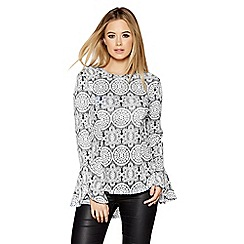 Quiz - Black and white lace flute sleeve top