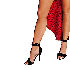 Quiz - Gabby's black faux suede frill barely there sandals