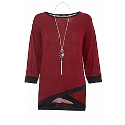 Quiz - Berry light knit 3/4 sleeves necklace top