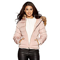 Quiz - Pink padded faux fur short jacket