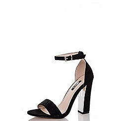 Quiz - Gabby's black faux suede barely there block heel sandals