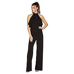 Quiz - Black choker frill jumpsuit
