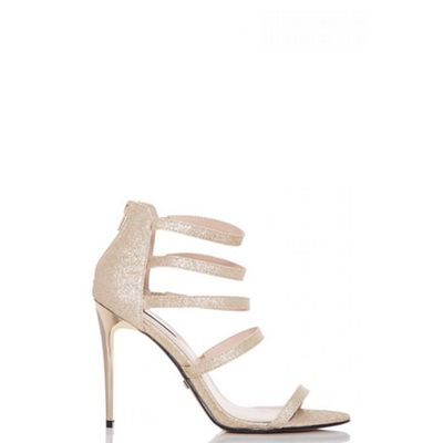 Quiz - Gold glitter multi strap heel sandals
