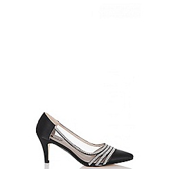 Quiz - Black satin diamante low heel court shoes