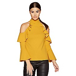 Quiz - Mustard crepe cold shoulder frill flute sleeves top