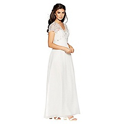 Quiz - Gabriella white chiffon cap sleeves bridal dress
