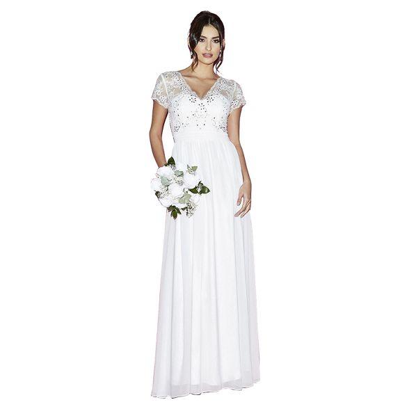 cap Quiz sleeves Gabriella chiffon dress bridal white pnxPqg