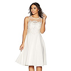 Quiz - Valentina white satin embroidered short bridal dress