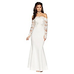 Quiz - Aria white bardot long sleeve bridal dress