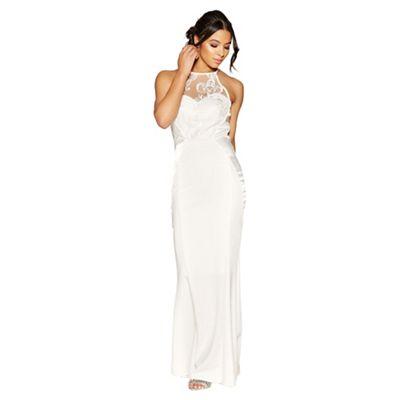 Quiz   Penelope White Embellished High Neck Bridal Dress by Quiz