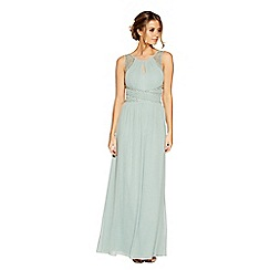 Quiz - Sage green chiffon high neck embellished maxi dress