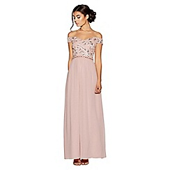 Quiz - Dusty pink bardot embroidered maxi dress