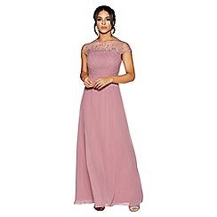 Quiz - Mauve chiffon embellished bodice maxi dress