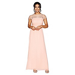 Quiz - Peach chiffon embellished bodice maxi dress