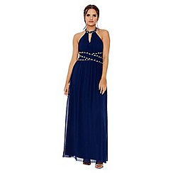 Quiz - Navy chiffon embellished keyhole maxi dress