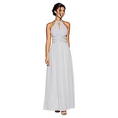 Quiz - Grey chiffon embellished keyhole maxi dress