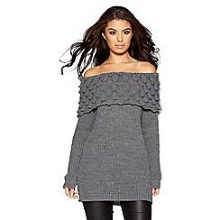Quiz - Dark grey knit bardot knitted jumper