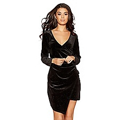 Quiz - Black glitter velvet long sleeves wrap dress
