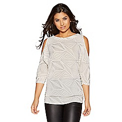 Quiz - Nude glitter cold shoulder top
