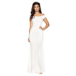 Quiz - Maya white sequin boat neck bridal dress
