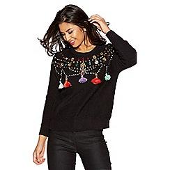 Quiz - Black long sleeve embellished tassel jumper